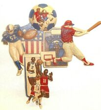Vtg Football Baseball Basketball Soccer Wall Plaque Art Decor Retro Homco