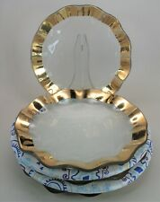 """*MINT* Lot of 4  Annieglass Ruffle Gold 9"""" Salad, Luncheon or Side Plates"""