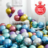 "12 PCS CHROME BALLOONS METALLIC LATEX PEARL 12"" Helium Baloon Wedding Party UK"