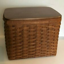 New ListingLongaberger Rare Dark Brown Personal File Basket Protector Rails Woodcrafts Lid