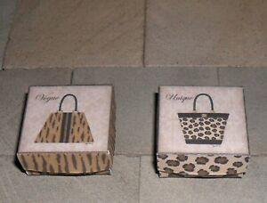 TWO HAND-MADE DOLLS' HOUSE 1/12TH SCALE HANDBAG BOXES