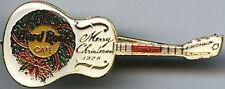 Hard Rock Cafe BANGKOK 1998 CHRISTMAS PIN Wreath White GUITAR PIN Catalog #966