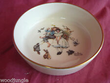 Vintage NORMAN ROCKWELL GORHAM USA SPRING DUET BOWL retro art gold trim