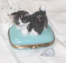 Gr Porcelain Limoges Black & White Playful Kitten on Blue Square Trinket Box