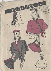 "1940s Vintage Sewing Pattern CAPE HAT & BAG SET B32""-34"" (R132)"