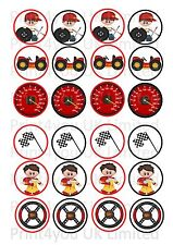 24 icing cake toppers decorations cute mixed racing car driver rally formula one