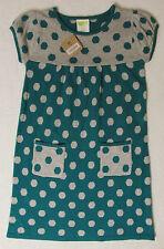 NWT M 7-8 Crazy 8 Teal & Gray Lightweight Polka Dot Sweater Dress