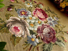 "PINK mauve Vtg 23"" PREWORKED Needlepoint Canvas  PETIT POINT- SHABBY ROSES CHIC!"