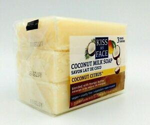 1x 3pack Kiss My Face Coconut Citrus Milk Soap Bar with Mango Butter Vegan 3.5oz
