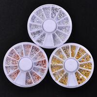 Charm Nail Art Decor 12 Shapes Metal 3D Rivet Studs Nails Accessories Wheel New