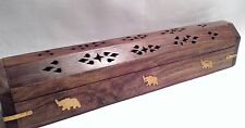 """Hand Carved Wood Incense Burner Smoke Box with Elephant Brass Inlay 12"""" (30cm)"""