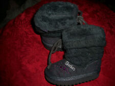 Skechers Baby Toddler Kids Girls Gray Faux Fur Slipper Boots Size 5 - l@k!