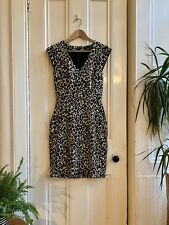 H&M 80s Leopard Animal Cheetah Print Party Wiggle Pencil Grunge Urban Dress 8 36