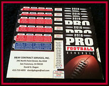 LOT OF 5 2016 B AND W CONTRACT SALES NFL PRO FOOTBALL SLIDEOUT SCHEDULES SF CAL