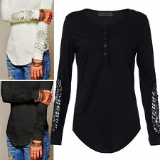 FL:Damen Spitze Bluse Strickshirt Crochet Langarm T-Shirt Tunika Tops Oberteil
