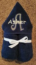 Personalized Boy Grey & White Initial Navy Hooded Towel