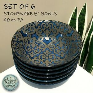 """SET OF 6 New Ooh La La by BIA Stoneware 8"""" Bowls Shiny Blue Matte Brown Damask"""