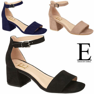 Ladies Block Heel Sandals Womens Formal Cushion Foam Strappy Party Dress Shoes