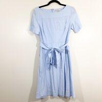 LOFT Size 0 Womens Blue Cotton Short Sleeved Tie Waist Belted Pocket Shift Dress