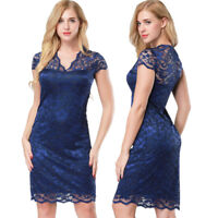 Womens Summer Dress V-Neck Bodycon Short Lace Evening Cocktail Party Dress