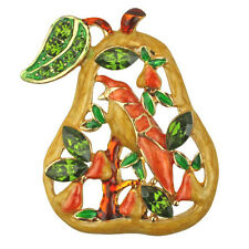 Kirks Folly Partridge In A Pear Pin-Goldtone-Holiday/Harvest/Christmas Brooch