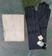 Vintage Aris of Paris Women's Black Leather Gloves Size:7 1/4 Nwt Made in France