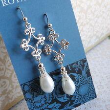 White Teardrop Pearl Bridal Prom Bridesmaid Tango Drop Silver Lacy Earrings