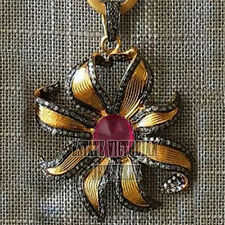 Silver Victorian Sunburst Pendant Jewelry 2.19Cts Rose Cut Diamond Ruby Studded