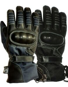 Mens Motorcycle Leather Cordura Waterproof winter Hipora Gloves Carbon Knuckles