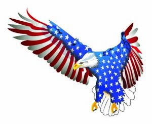 """Flying American Flag Eagle Decal is 6"""" in size  Free Shipping"""