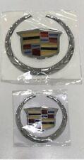 Cadillac Escalade,Cts,Srx Front & Rear Wreath Crest Chrome Emblm Badge Logos