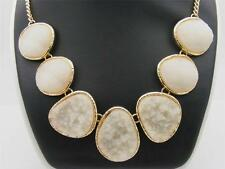 """$24 Stephan & Co White Faux Druzy Stone 7-Link Necklace Goldtone Chain 21"""" Long"""