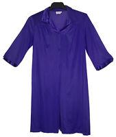 Vintage Vanity Fair Medium Purple Nylon Button Front Satin Accent Robe Pocket