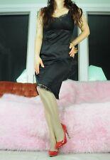 VTG Black Satin Nylon Fancy Wide Lace Mesh Classy Full Slip Dress sz 32