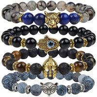 7 Chakra Naturel Pierres Bracelets Thérapeutique Perles Bijoux Lion Charmed