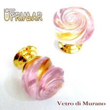 POMOLO IN VETRO MURANO D.mm.30 ROSA LUCIDO base OTTONE LUCIDO Made in Italy