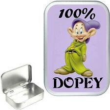 100% Dopey 1oz Silver Hinged Tobacco Tin,50ml Hinged Tin,Sewing Tin, Pill Box