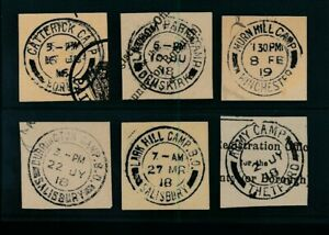GB ARMY CAMP POSTMARKS on PIECE 6 DIFFERENT