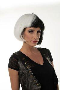 White & Black Diva Wig 101 Dalmations Cruella De Vil Women Dr. Black Jack H0288