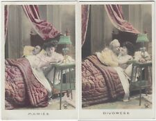 French Saucy Comic PPC Pair - Divorced / Married; Unposted c 1910s, By Croissant
