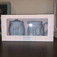 Rae Dunn Blue HIP HOP Combo Sugar Bowl & Creamer Box Set EASTER