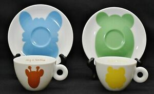 Rosenthal Illy Collection 2001 Jeff Koons Set Of 2 Cappuccino Cups & Saucers