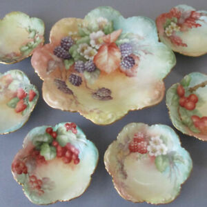 7Pc Antique LIMOGES Hand Painted Porcelain BERRY Dessert Set Variety of FRUITS