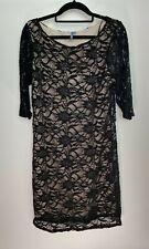 Evie Ladies Dress Size 16 Black Beige Floral Lace Sequin Party Evening