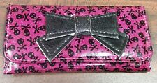 Cute Glittery Hot Pink Wallet Billfold Clutch With Black Skulls & Black Ribbon