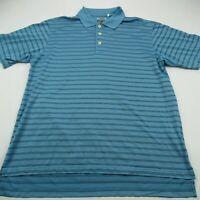 Adidas Golf Climacool Mens Polo Shirt Blue Stripes Short Sleeve Stretch Medium