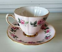 Colclough Bone China Cup & Saucer made in  England Rose Pattern with Gold trim