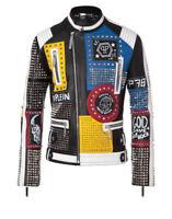 Mens Punk Style Studded Genuine Leather Jacket Plein Rock Real Leather Jacket