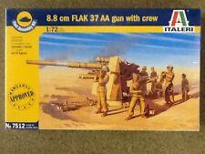ITALERI 1/72 WW II GERMAN  88mm FLAK 37 AA GUN w/ CREW KIT # 7512 FACTORY SEALED