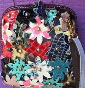 TRESKA Leather Flowers Patchwork & 3 - D Floral Applique Cross-Body Bag Purse